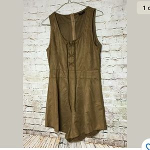 On Twelfth Large Romper Faux Suede Lace Up